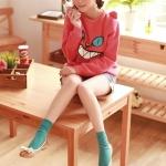 รองเท้าส้นเตี้ยผู้หญิงสีชมพู ตัดทูโทน หุ้มส้น หัวกลม ประดับโบว์ ส้นสูง1.5cm แนวหวาน สไตล์แฟชั่นเกาหลี