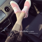 รองเท้าผ้าใบผู้หญิงสีชมพู แบบเชือก ทรงคลาสสิค ดูดี ฮิตตลอดกาล แฟชั่นเกาหลี