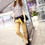 รองเท้าผ้าใบผู้หญิงสีดำ หนังPU หัวแหลม โชว์ลายเย็บ แบบเชือกผูก ลำลอง แฟชั่นเกาหลี