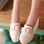 รองเท้าส้นตึกสีขาว ทูโทน หุ้มส้น แนวหวาน หัวกลม ประดับโบว์ ส้นสูงแฟชั่นเกาหลี
