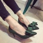 รองเท้าส้นสูงสีเขียว หนังกลับ ประดับโบว์ แฟชั่นเกาหลี