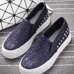 รองเท้าผ้าใบแฟชั่นเกาหลีสีดำ ทรงฮาราจูกุ ประดับกากเพชร หรูหรา โก้เก๋ ทรงทันสมัย