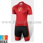 ชุดจักรยานแขนสั้น Super Hero Flash สีแดง