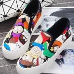รองเท้าผ้าใบแฟชั่นผู้หญิงสีกากี ลายการ์ตูน แบบสวม น่ารัก ดุดี ไม่ซ้ำใคร แฟชั่นเกาหลี