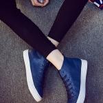 รองเท้าผ้าใบหนังแฟชั่นสีน้ำเงิน แบบรัดข้อ ซิปข้าง เชือกผูก ทรงคลาสสิค ยอดนิยม ใส่ลำลอง