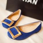 รองเท้าแฟชั่นผู้หญิงสีน้ำเงิน ทรงบัลเลต์ หุ้มส้น พื้นแบน