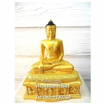 พระพุทธรูปปางมารวิชัย ( ปางสะดุ้งมาร ) พุทธเมตตา สีทอง เนื้อเรซิ่น หน้าตัก 5นิ้ว สูง 10.5 นิ้ว (รวมฐาน)