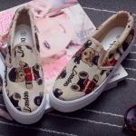 รองเท้าผ้าใบแฟชั่นเกาหลีสีเบจ ลายหมีน่ารัก แบบสวม ใส่ลำลอง น่ารัก เก้ไก๋ แฟชั่นมาใหม่