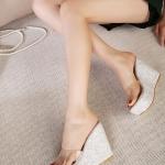 รองเท้าส้นเตารีดทรงมัฟฟิน แบบสวม เปิดส้น (สีเงิน)