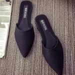 รองเท้าแตะผู้หญิงสีดำ เปิดส้น หัวแหลม ลายหนังงู ยอดฮิต ลูกค้าสั่งตรึม แฟชั่นเกาหลี