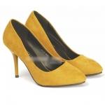 รองเท้าส้นสูงสีเหลือง แบบหุ้มส้น ผ้ากำมะหยี่ แฟชั่นเกาหลี