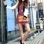 รองเท้าคัทชูส้นสูงสีดำ วัสดุPU แบบผูกเชือก โชว์ลายเย็บ ส้นสูง7cm แฟชั่นเกาหลี