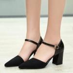 รองเท้าส้นสูงสีดำ หนังนิ่ม หัวแหลม สายรัดเข็มขัด แฟชั่นใส่ทำงาน