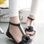 รองเท้าแตะผู้หญิงสีดำ รัดส้น แต่งดอกไม้ แนวย้อนยุค คลาสสิค แฟชั่นเกาหลี
