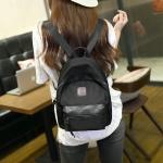 กระเป๋าเป้แฟชั่นสีดำ สะพายหลัง วัสดุไนลอน กันน้ำ งานดี แข็งแรงทนทาน ทรงวัยรุ่น ชั่นเกาหลี