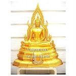 พระพุทธรูปปางมารวิชัย ซุ้มแก้ว ( พระพุทธชินราช ) สีทอง เนื้อเรซิ่น หน้าตัก 9 นิ้ว สูง 24 นิ้ว (รวมฐาน)
