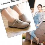 รองเท้าผ้าใบผู้หญิงสีน้ำตาลอ่อน หนังPU หัวแหลม โชว์ลายเย็บ แบบเชือกผูก ลำลอง แฟชั่นเกาหลี