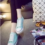 รองเท้าผ้าใบแฟชั่นผู้หญิงสีฟ้า ทรงคลาสิค ยอดนิยม ฮิตตลอดกาล แบบเชือกผูก แฟชั่นเกาหลี