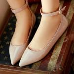 รองเท้าส้นแบนผู้หญิงสีเขียว หุ้มส้น หัวแหลม หนังแก้ว มีเข็มขัดรัดข้อเท้า น่ารักสไตล์เกาหลี