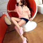 รองเท้าคัทชูส้นสูงสีชมพู วัสดุPU แบบผูกเชือก โชว์ลายเย็บ ส้นสูง7cm แฟชั่นเกาหลี