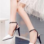 รองเท้าส้นสูงสีขาว รัดส้น เข็มขัดปรับระดับได้ วัสดุพียูคุณภาพ ดูดี เซ็กซี่แบบสาวเกาหลี แฟชั่นเกาหลี