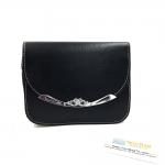 กระเป๋าสะพายไหล่ สะพายข้าง Crown Leather - สีดำ