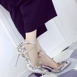รองเท้าส้นสูงสีเงิน ส้นเข็ม แต่งสวนดอกไม้ เข็มขัดรัดข้อเท้าปรับระดับได้ ขาเรียว ดูดี เซ็กซี่ แฟชั่นเกาหลี