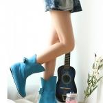 รองเท้าบู๊ทผู้หญิงสีฟ้า ผ้าสักราด ประดับโบว์ ส้นเตี้ย แฟชั่นเกาหลี