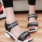 รองเท้าส้นเตารีดสีดำ แบบรัดส้น FASHION สวมใส่สบายเท้า ทรงทันสมัย แฟชั่นเกาหลี