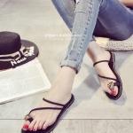 รองเท้าแตะผู้หญิงสีดำ ส้นแบน ประดับเพชรใหญ่ ดูดี สวมใส่สบาย แฟชั่นเกาหลี