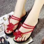 รองเท้าแตะผู้หญิงสีแดง แต่งกุหลาบ แบบหนีบ เรียบง่าย เก๋ไก๋ แฟชั่นเกาหลี