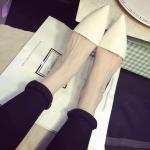 รองเท้าแตะเปิดส้นผู้หญิงสีขาว หัวแหลม ส้นเตี้ย แฟชั่นยุโรป