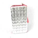 กระเป๋าสตางค์ ใส่มือถือได้ samsung ,iPhone หนังแก้ว สีเงิน