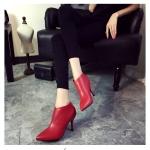 รองเท้าบูทส้นสูงสีแดง แบบซิป ทรงสวย ดูดี ส้นสูง9ซม. แฟชั่นเกาหลี