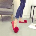 รองเท้าส้นตั้ยผู้หญิงสีแดง หนังกลับ หัวแหลม ประดับพู่ขนสั้ตว์ที่หัว น่ารัก เก๋ไก๋ แฟชั่นเกาหลี