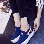 รองเท้าผ้าใบผู้หญิงสีฟ้า ส้นตึก แบบสวม แต่งลาย ทรงทันสมัย สวมใส่สบาย แฟชั่นเกาหลี