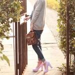 รองเท้าคัทชูส้นสูงสีฟ้า หัวกลม เข็มขัดรัดข้อเท้าประดับโบว์ ส้นสูง10cm หวานหวาน แนวเจ้าหญิง แฟชั่นเกาหลี