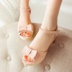 รองเท้าส้นสูงสีชมพู แบบส้นหนา รัดส้น แต่งหัวโบว์ เข็มขัดปรับระดับได้ สไตล์โรมัน แฟชั่นเกาหลี