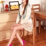 รองเท้าทำงานส้นสูงสีแดง หุ้มส้น หัวมน ประดับโบว์ หนังPU พื้นหนา3cm ส้มนสูง11cm แฟชั่นเกาหลี