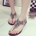 รองเท้าแตะผู้หญิงสีเงิน แบบรัดส้น สายคาดแต่งดอกไม้สวยงาม ไฮโซ กำลังฮิต แฟชั่นเกาหลี