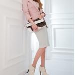 รองเท้าบู๊ทส้นสูงสีครีม ซิปหน้า หัวกลม ส้นสูง10cm สวยหรู แฟชั่นเกาหลี