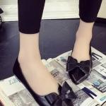 รองเท้าคัทชูผู้หญิงสีดำ หัวแหลม ประดับโบว์ วัสดุพียู ใส่ทำงาน ทรงสุภาพ แฟชั่นเกาหลี