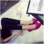 รองเท้าส้นแบนผู้หญิงสีแดง หุ้มส้น หัวแหลม ประดับโบว์เล็ก ส้นสูง1ซม. แฟชั่นเกาหลี