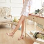 รองเท้าแตะผู้หญิงสีเขียว รัดส้น เปิดนิ้วเท้า มีเข็มขัดรัดส้น ส้นแบน แนวหวาน น่ารัก แฟชั่นเกาหลี