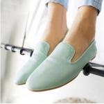 รองเท้าหนังหุ้มส้นผู้หญิง สีฟ้า แบบสวม พื้นเรียบ แฟชั่นเกาหลี