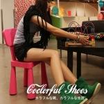 รองเท้าบู๊ตผู้หญิงสีเขียว หนังเคลือบ หัวกลม ส้นแบน แฟชันเกาหลี ส้นสูง1cm