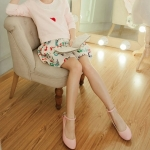 รองเท้าคัทชูผู้หญิงสีชมพู ไมโครไฟเบอร์ หัวกลม มีเข็มขัดรัดข้อเท้า ส้นหนา ส้นสุง4cm แนวหวาน น่ารัก แฟชั่นเกหลี