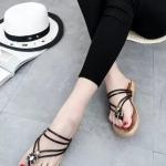 รองเท้าแตะผู้หญิงสีดำ สายคาดสีดำ แบบรัดส้น สไตล์โรมัน แฟชั่นเกาหลี