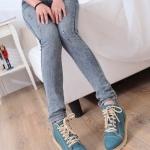 รองเท้าผ้าใบสีฟ้า หุ้มข้อ แบบเชือกผูก วัสดุPU โชว์ลายซิป เก๋ไก๋ แฟชั่นเกาหลี