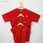 """เสื้อพ่อแม่ลูก ไซส์ใหญ่ไปถึงไซส์เล็ก ..พร้อมส่ง...สีแดง เซ็ท """"ส้ม..ตัวแทนความสุขและโชคลาภค่ะ"""""""
